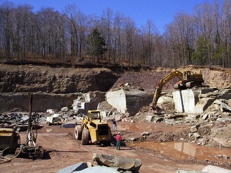 Bluestone quarry extracting blocks.