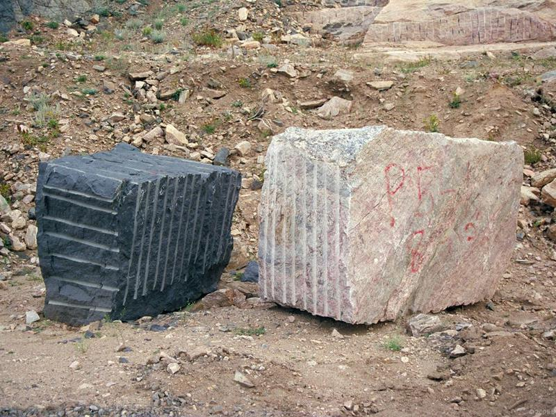 Granite quarry blocks ready for processing.