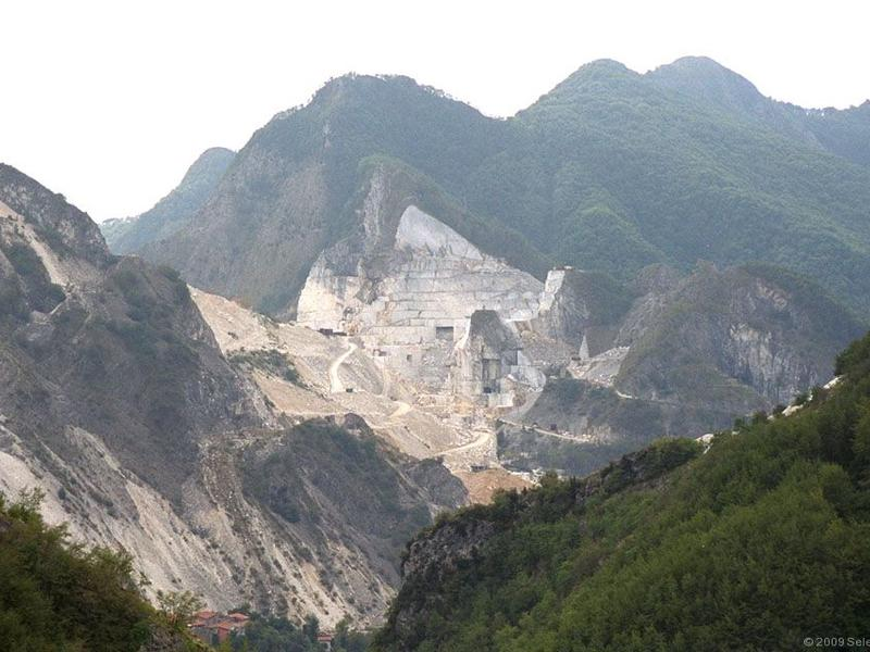 The Apuan Alps near Carrara are littered with quarries.