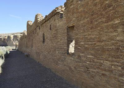The north wall at Chetro Ketl, a Great House at Chaco Canyon.