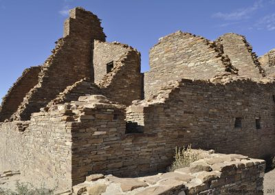 Pueblo Bonito is a large structure in Chaco Canyon, New Mexico.