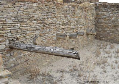 Wood timbers at Pueblo Arroyo at Chaco Canyon.