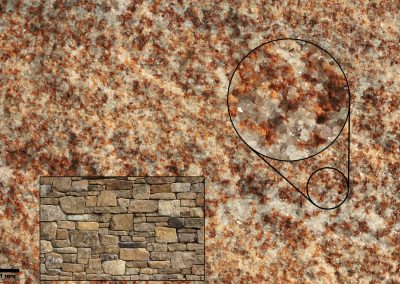 The color range of Homestead comes from liminite and lighter colored quartz.