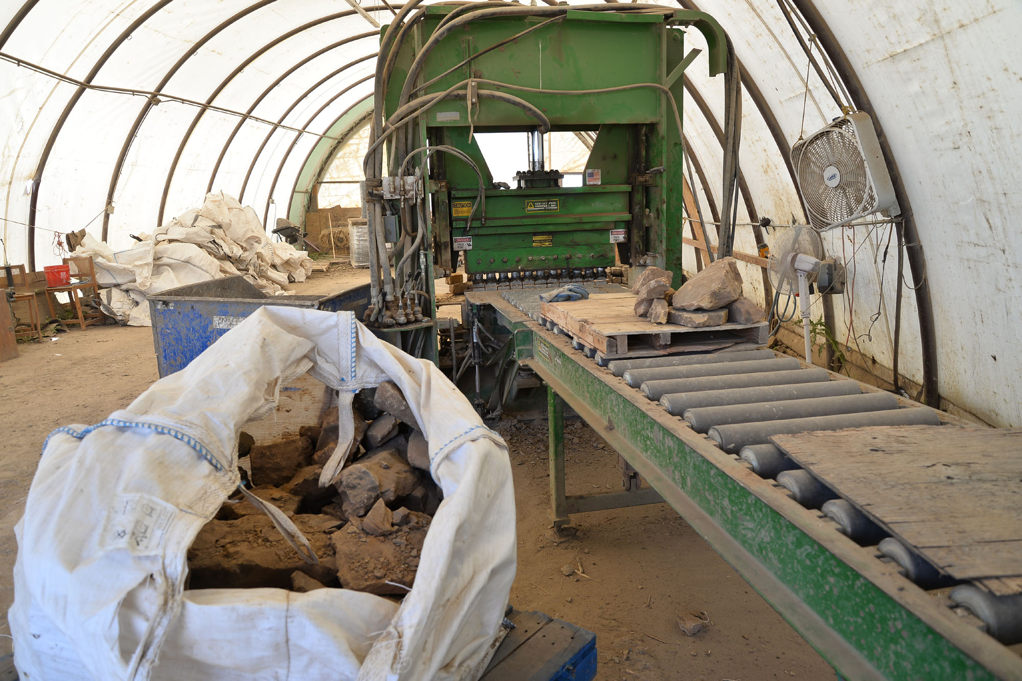 In the processing area, we chop the raw stone into usable sizes and shapes.