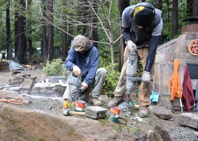 Drilling and splitting basalt